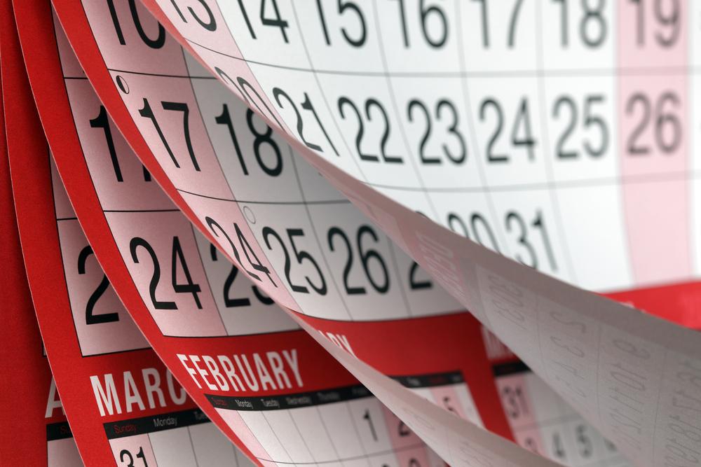 カレンダーがめくれる